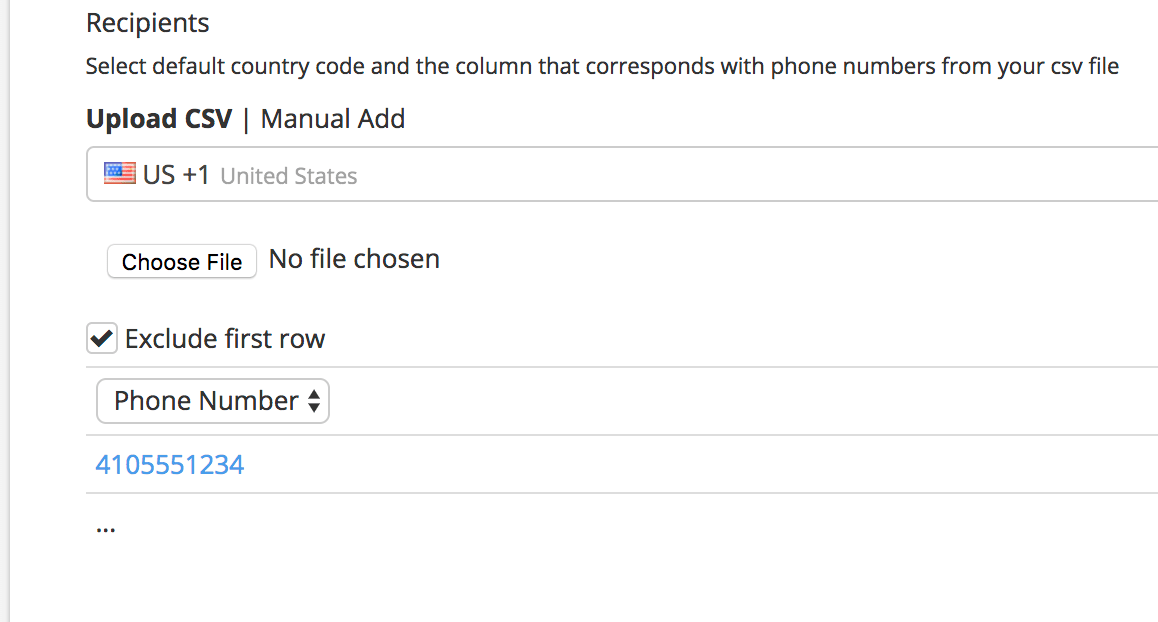 Choose country code, upload CSV